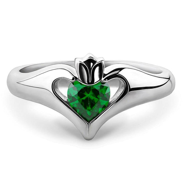 Sterling Silver Green CZ ULS-16434GR Ladies Modern Claddagh Ring - Uctuk