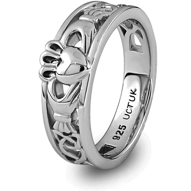 Ladies Sterling Silver ULS-6157 Claddagh Ring - Uctuk