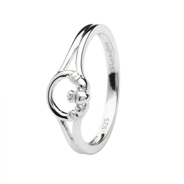 Sterling Silver Women's Claddagh Ring LS-SL108 - Uctuk