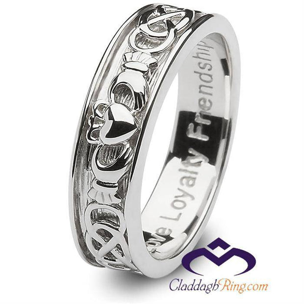 Mens Sterling Silver Claddagh Wedding Ring SM-SD9 - Uctuk