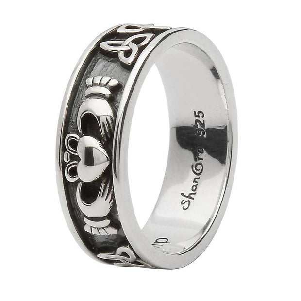 Unisex Sterling Silver Claddagh and Trinity Wedding Ring SU-SD21 - Uctuk
