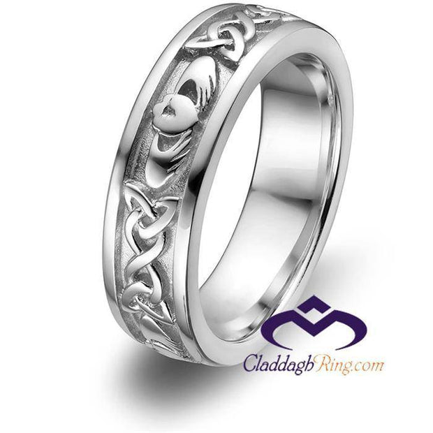 Ladies Sterling Silver ULS-6344 Wedding Claddagh Ring - Uctuk