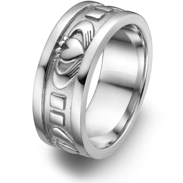 Mens Sterling Silver UMS-6343 Wedding Claddagh Ring - Uctuk