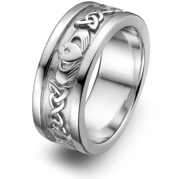 Mens Sterling Silver UMS-6345 Wedding Claddagh Ring - Uctuk