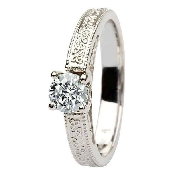 1/4 or 1/3 or 1/2 Carat Diamond Trinity Engagement Ring SL-BR1W-ROUND - Uctuk