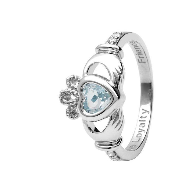 14K Gold Claddagh March Birthstone Ring Genuine Aquamarine and Diamonds - 14L90AQ - Uctuk