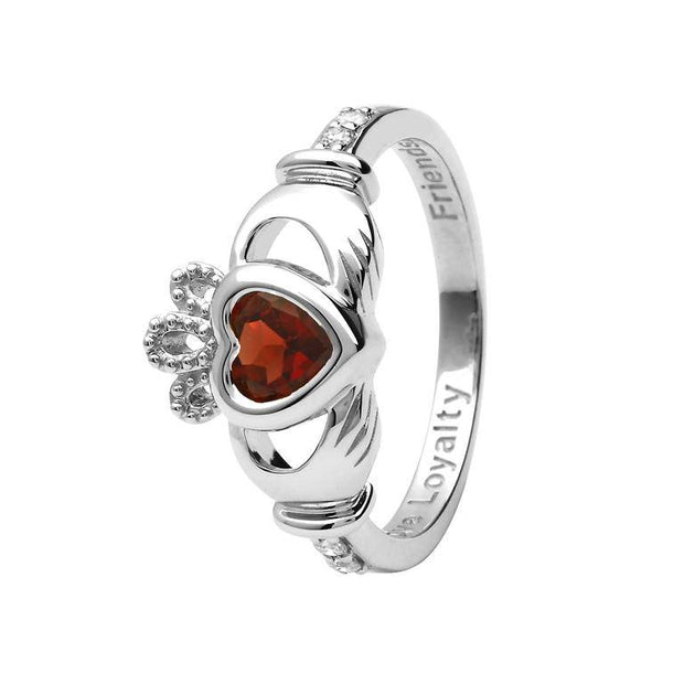 14K Gold Claddagh January Birthstone Ring Genuine Garnet and Diamonds - 14L90G - Uctuk