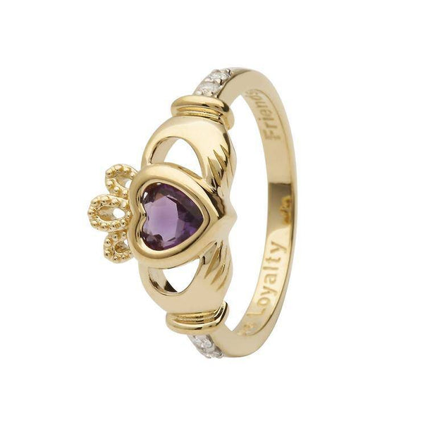 14K Gold Claddagh June Birthstone Ring Genuine Light Amethyst and Diamonds - 14L90LA - Uctuk