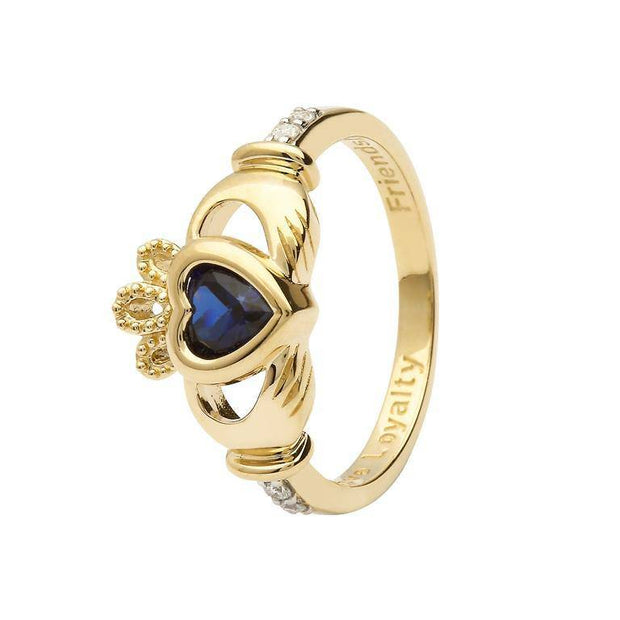 14K Gold Claddagh September Birthstone Ring Blue Sapphire and Diamonds - 14L90S - Uctuk