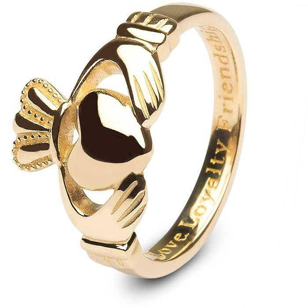 Ladies 10K Gold Claddagh Ring 10L92 MADE IN IRELAND - Uctuk