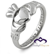 Ladies 14K White Gold Claddagh Ring SL-14L92 - Uctuk