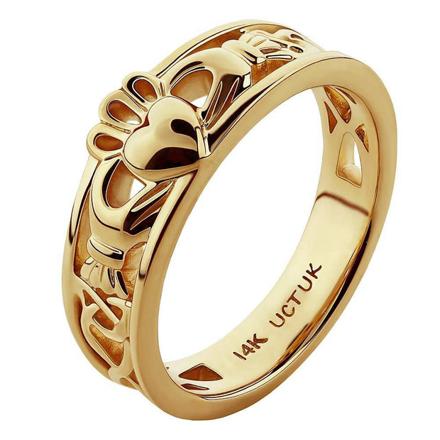 "Gold Claddagh Ring ULG-6157Y in 14K Yellow Gold <font color=""#FF0000""> IN STOCK!  Ships in 24 Hours!</font> - Uctuk"