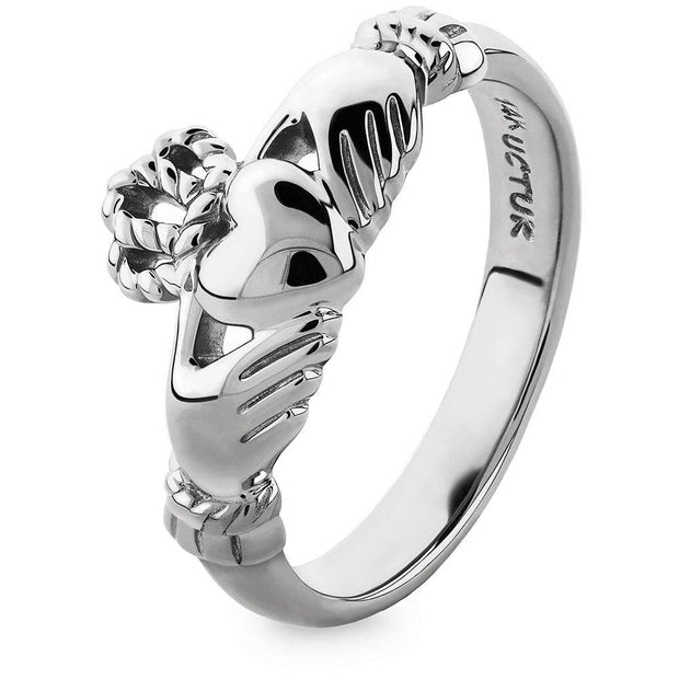 "Gold Claddagh Ring ULG-6334W in 14K White Gold <font color=""#FF0000""> IN STOCK!  Ships in 24 Hours!</font> - Uctuk"