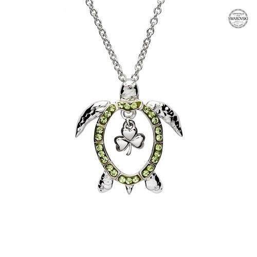 Turtle Pendant with Peridot Swarovski Crystals and Shamrock with Chain - OC54 - Uctuk