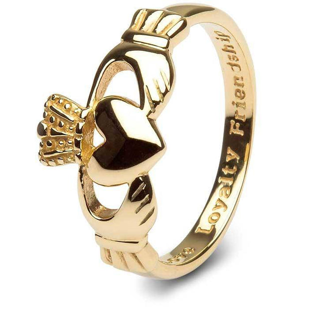 MENS 10K Yellow Gold Claddagh Ring SMG-10G7 . IN STOCK!  Ships in 24 Hours! MADE IN IRELAND! - Uctuk