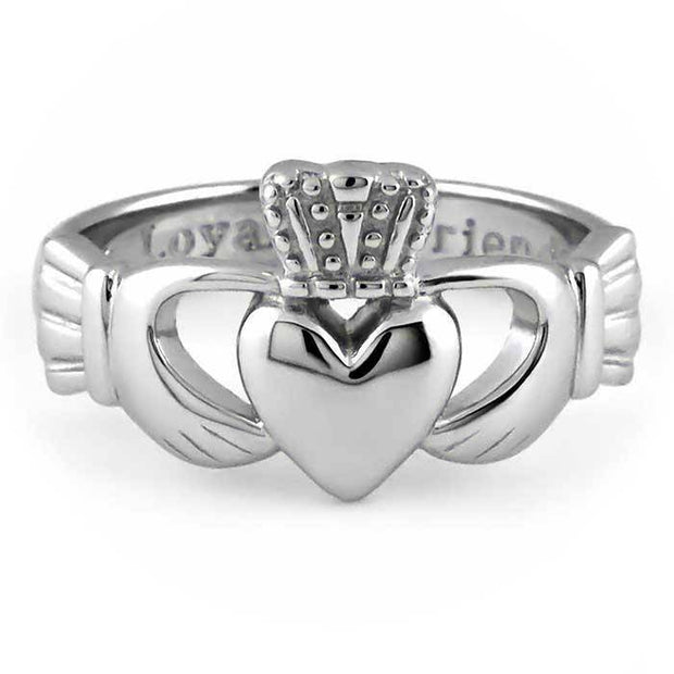 MENS 14K WHITE Gold Claddagh Ring SMG-14G7W - Uctuk