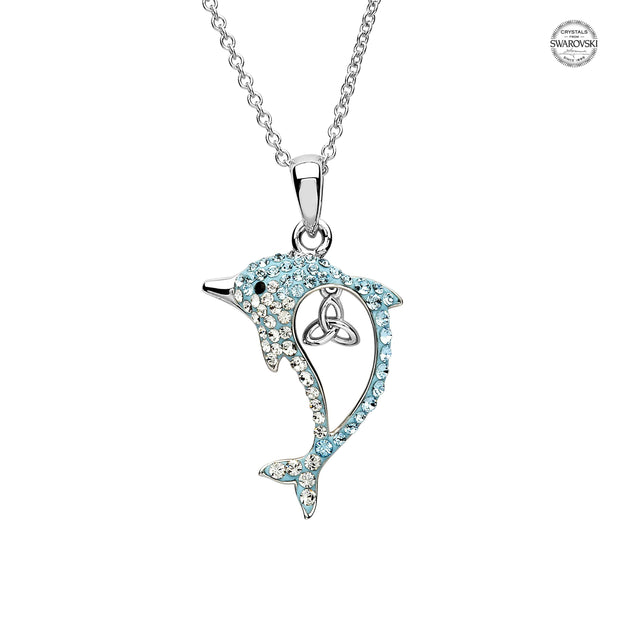 Sterling Silver Dolphin Pendant with Aqua Swarovski Crystals and Trinity with Chain - OC50 - Uctuk