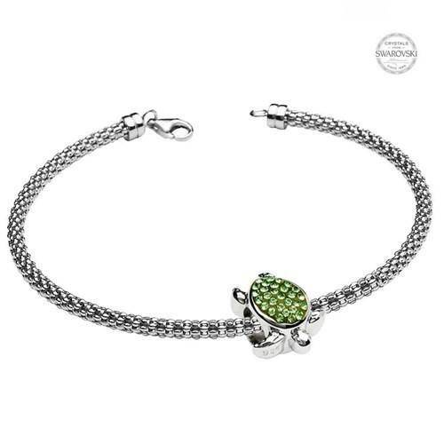Ocean -  Sterling Silver Turtle Bead with Green Swarovski Crystals - OC56 - Uctuk