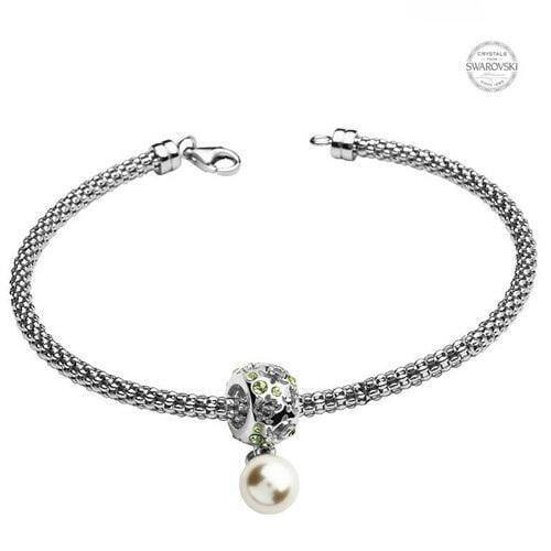 Sterling Silver Turtle Bead with Peridot Swarovski Crystals and Dangle Pearl - OC57 - Uctuk