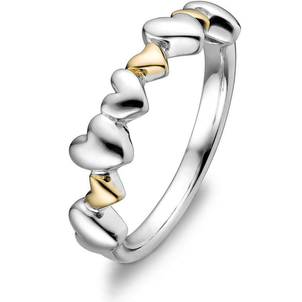Sterling Silver and 14K Gold Mix Promise Ring ULS-14284 - Uctuk