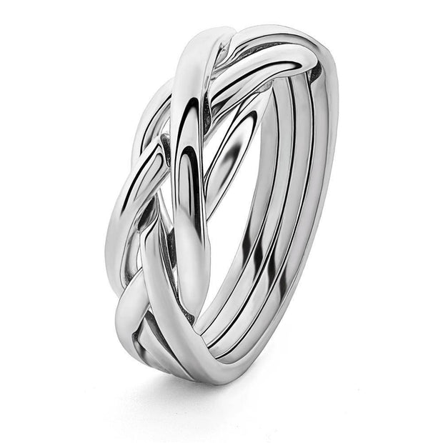 14K White Gold LADIES 4 band Puzzle Ring 4KNGW - Uctuk