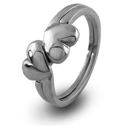 LADIES 2 band STERLING SILVER HEART Puzzle Ring 2HRT - Uctuk