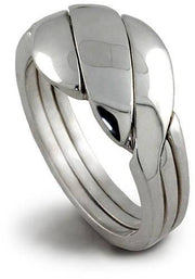 UNISEX 3 band STERLING SILVER Puzzle Ring 3BDS - Uctuk