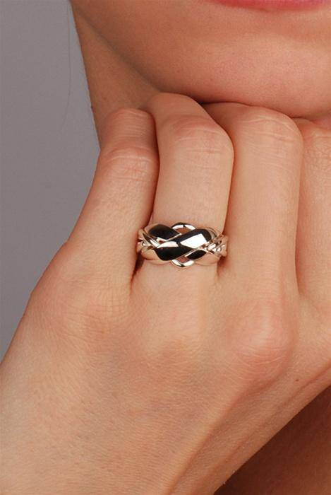 LADIES 4 band STERLING SILVER Puzzle Ring 42SL - Uctuk