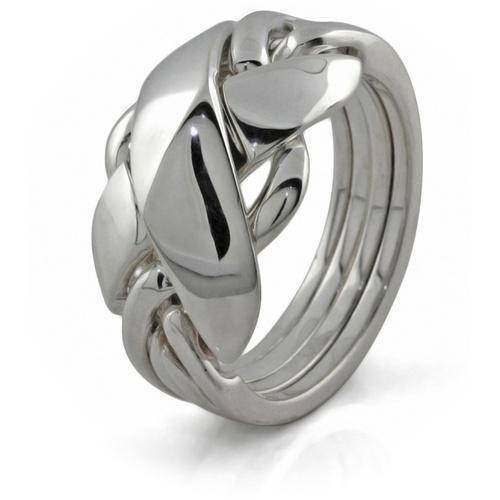Mens 4 band STERLING SILVER Puzzle Ring 42SM - Uctuk