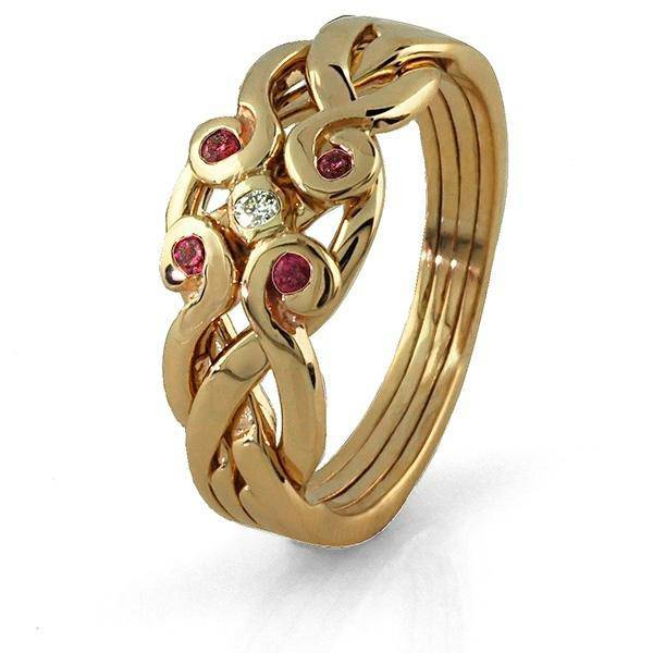 14K Yellow 4 Band Ruby Diamond Celtic Puzzle Ring 4ANG-RD - Uctuk