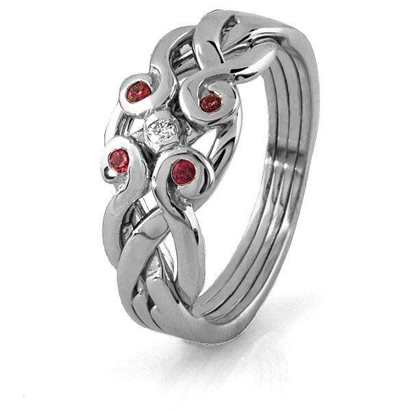 14K White Gold 4 Band Ruby Diamond Celtic White Gold Puzzle Ring 4ANG-RDW - Uctuk