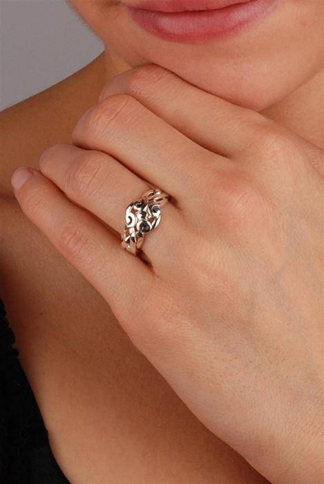 4 band STERLING SILVER Antique looking Celtic Puzzle Ring 4ANS - Uctuk