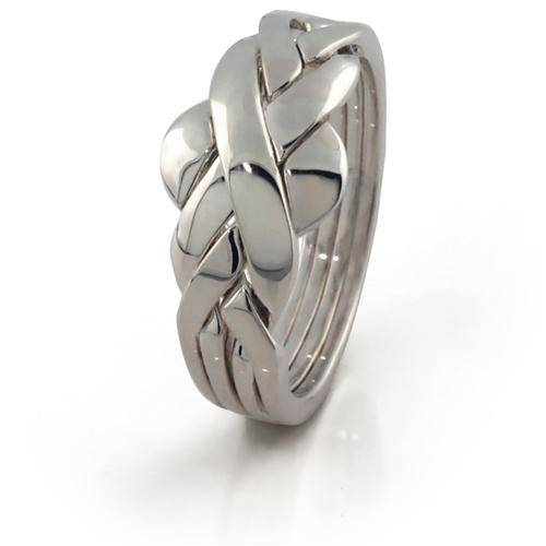 LADIES PLAIN 4 band STERLING SILVER Puzzle Ring 4ASL - Uctuk