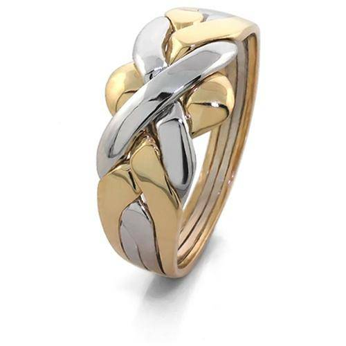 14K Two Tone Gold 4 Band Puzzle Ring 4B141-2T - Uctuk