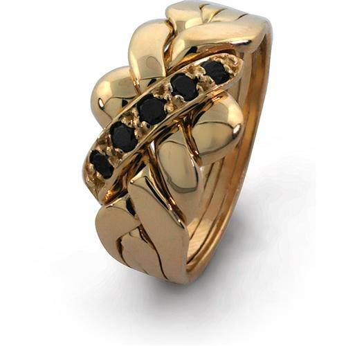 14K Gold 4 Band BLACK DIAMOND Puzzle Ring 4B141BD - Uctuk