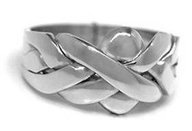 14K White Gold 4 Band Puzzle Ring 4B141W - Uctuk