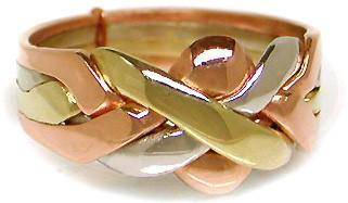 14K Tri Gold 4 Band Puzzle Ring 4B142 - Uctuk