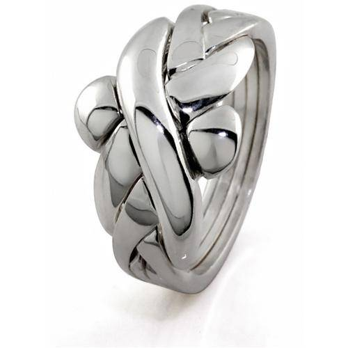 Mens 4 band STERLING SILVER Puzzle Ring 4BMS - Uctuk