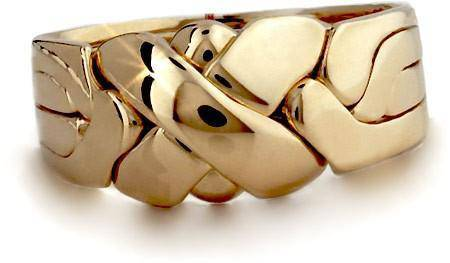 14K Gold 4 Band LARGE X Puzzle Ring 4BX1 - Uctuk