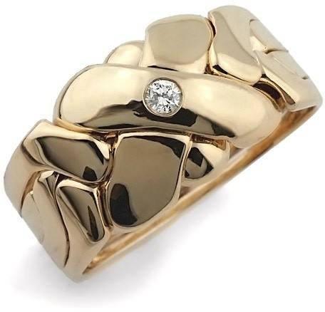 14K Gold 4 Band Puzzle Ring with Diamond 4BX1D - Uctuk
