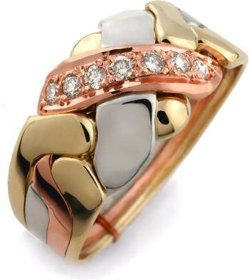 14K Gold 4 Band Puzzle Ring with Diamonds 4BX7D3 - Uctuk
