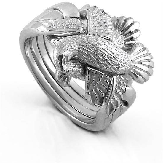 UNISEX 4 band  STERLING SILVER DOVE Puzzle Ring 4DOVE - HEAVY - Uctuk