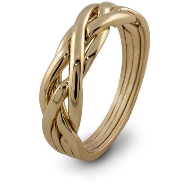 14K Yellow Gold LADIES 4 band Puzzle Ring 4KNG - Uctuk