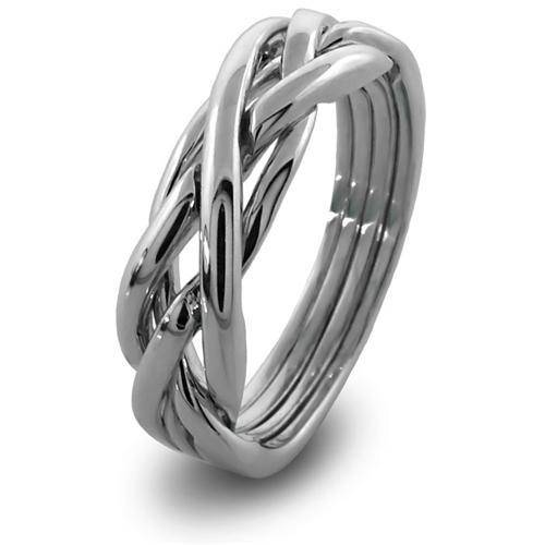 LADIES 4 band STERLING SILVER Puzzle Ring 4KNS - Uctuk