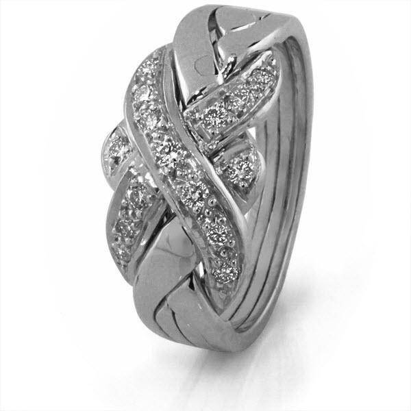 14K White Gold 4 Band Puzzle Ring White Gold 4S15DW - Uctuk