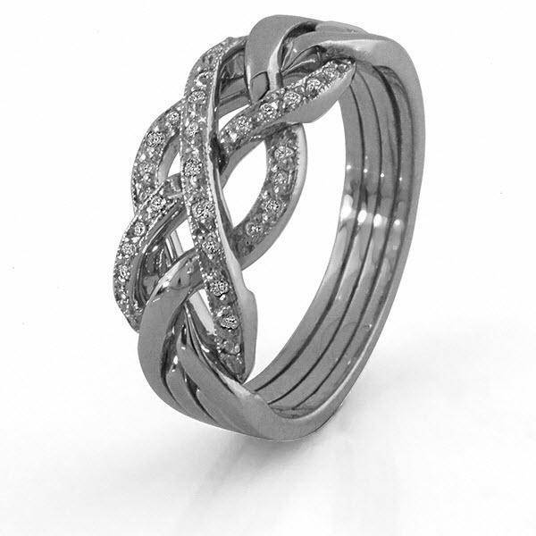 14K White Gold 4 Band Diamond Puzzle Ring 4WGDLW - Uctuk