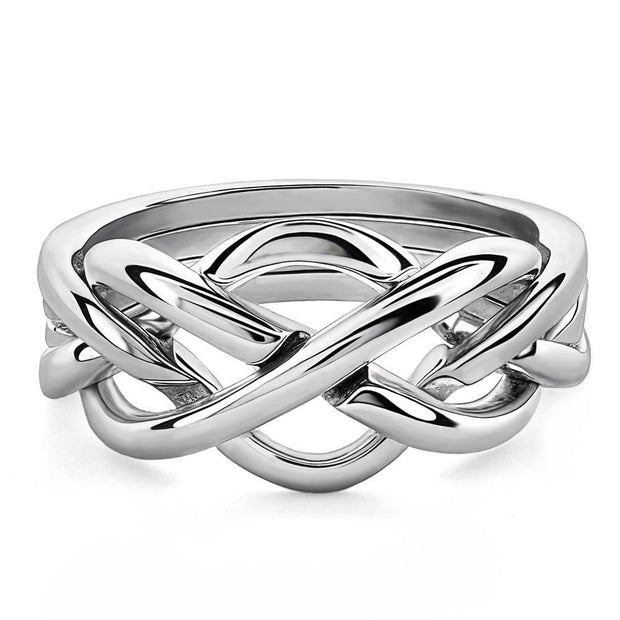 LADIES 4 band STERLING SILVER Puzzle Ring 4WSL - Uctuk