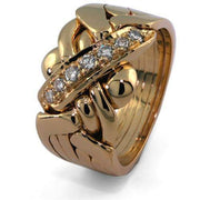 14K Gold 5 Band Diamond Puzzle Ring 5B7D - Uctuk