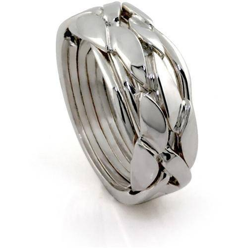 LADIES 6 band STERLING SILVER Puzzle Ring 6BCS - Uctuk