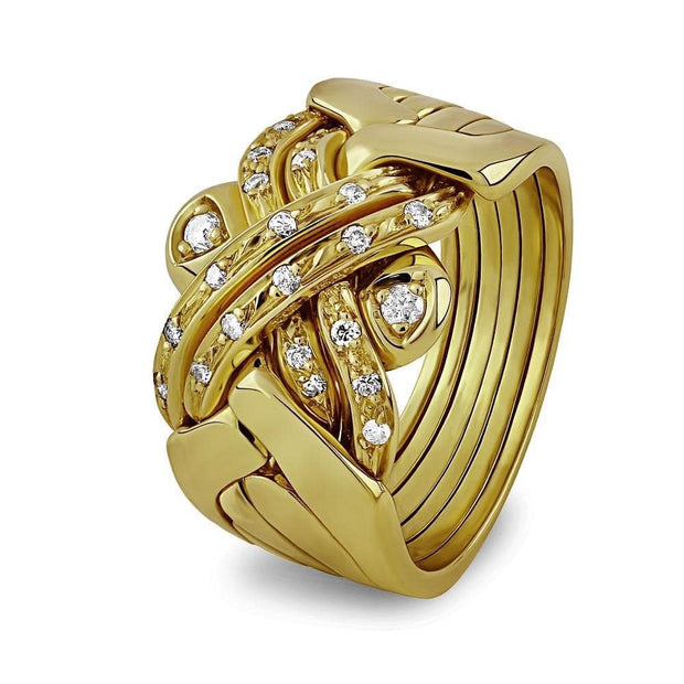 14K Gold 6 Band Diamond Puzzle Ring 6BSENA - Uctuk